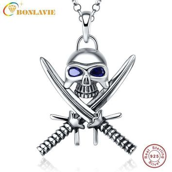 1 Piece 925 Sterling Silver Halloween Vintage Punk Gothic Necklace Double Knife Skull Necklace