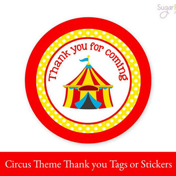Circus Tags, Circus Favor Tags, Circus Label, Circus Printable tags, Circus Party Decorations, Circus Sticker Tags, Circus Birthday Tags