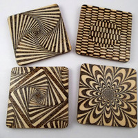 Unique Wood Gifts, Wood Coasters, Wooden Coasters, Wood Burning, Pyrography, Modern Decor, House Warming Gift, Wood Burned Coasters, Design