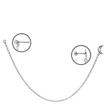 316L Stainless Steel Moon WildKlass Chain Nose + Cartilage Earring