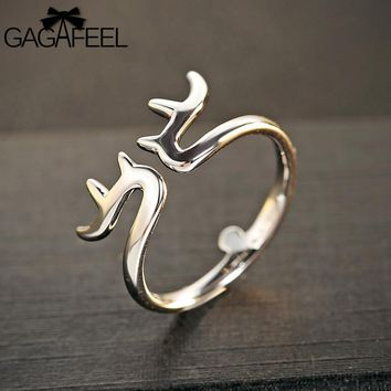 925 Sterling Silver Deer Antlers  Ring