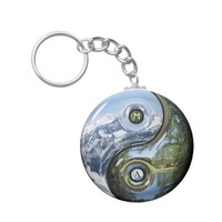 Yin And Yang As Planet Earth With Your Monogram Basic Round Button Keychain