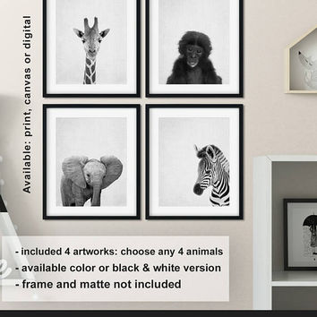 Safari Baby animals, African animals nursery decor, Zoo animals Childrens wall art, Safari animal prints, Nursery animal wall art Print/Canv