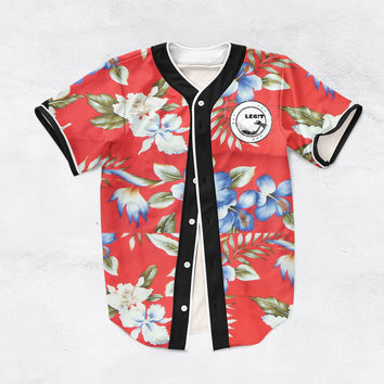 Red Floral Baseball Jersey