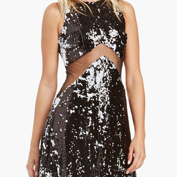Black Sleeveless Arrow Cut-Out Mesh Sequined Mini Dress