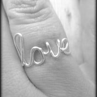 Sis ring-Sister ring-Wire word ring-Script ring-Word ring-Gift box included-