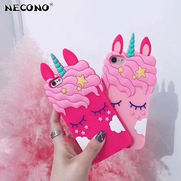 3D Cartoon Eyelash Pink Uicorn Horse Phone Case for IPhone X XR XS Max 6 6s Plus 7 7Plus 8 8plus Back Cover Silicone Rubber Case