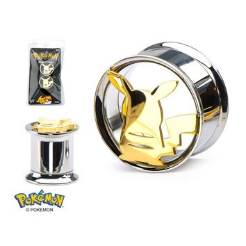 Pokemon Pikachu Cut-Out 316L Stainless Steel Double Flared Tunnel Plug (Sold as Pair)