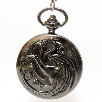 New Arrival House Targaryen A Song of Ice and Fire Dial Silvery Grey/Black/Brpmze Quartz Pocket Watch Necklace Mens Womens Gift