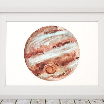 Watercolor poster Jupiter print Space print Planet decor ACW710