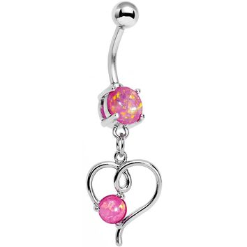 Pink Faux Opal Filigree Keep Me in Your Heart Dangle Belly Ring