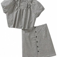 Monochrome Plaid Short Sleeve Crop Top And Pencil Skirt - Choies.com