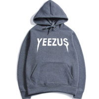 Fashion Unisex Yeezus Print Casual Pullover Hoodies Sweater Tops - Gray