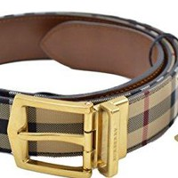 Burberry Men's Reversible Horse Ferry Check and Leather Belt