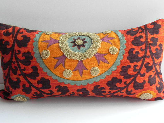 Suzani 3park 10x20 tribal print pillow from pillowchix on etsy - Fabric for throw pillows ...