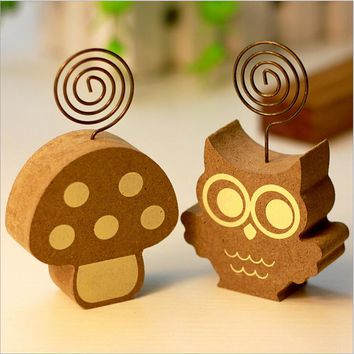1 Pics Wood Cute Mushrooms Hedgehog Owl Tree Memo Pincer Clips Paper Photo Clip Holder Wooden Small Clamps Stand Peg Desk Gadget