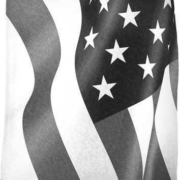 Patriotic flag fleece throw blanket, black and white pencils, America couch