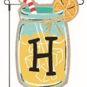 Home Garden Flags Monogram Lemonade Mason Jar Burlap Summer Garden Flag 12.5 x 18 (Letter H)