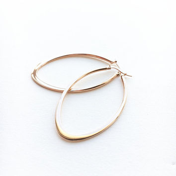 Teardrop Hoop earrings • Leaf Hoop earrings • Rose Gold Hoops • Steel Hoop earrings • Rose Gold earrings • Maid of honor Gift