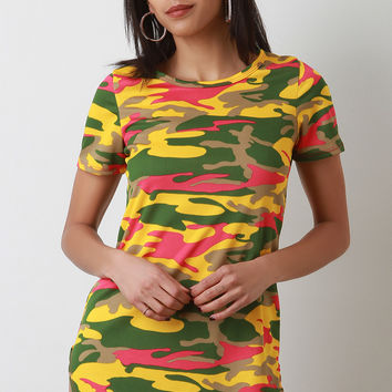 Camouflage Short Sleeve Mini Dress | UrbanOG