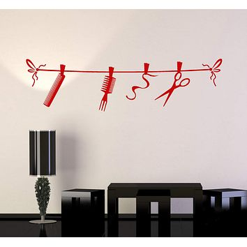 Vinyl Wall Decal Hair Salon Beauty Tools Hairdresser Stylist Stickers Unique Gift (ig4830)