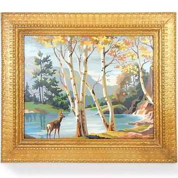 Vintage 60s Framed Paint By Number Deer Painting - 16 x 20 The Birches PBN Doe in Forest Woodland Lake Scene Oil Painting in Gold Frame
