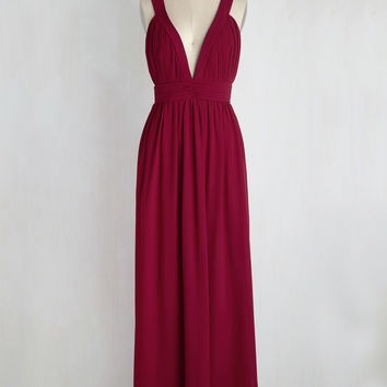 Glamour Out the Details Maxi Dress in Burgundy | Mod Retro Vintage Dresses | ModCloth.com