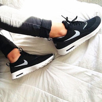 NIKE Women Men Running Sport Casual Thea Shoes Sneakers Black