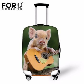 FORUDESIGNS 2018 Travel Waterproof Luggage Protective Cover Funny 3D Pig Suitcase Elastic Covers For 18-30 Inch Cases Protector