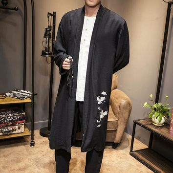 Trendy Long Kimono Jacket 2018 Spring Summer Embroidery Solid Vintage Jacket Men Trench Coat  Japan Style Men Chinese Outwear Loose Fit AT_94_13