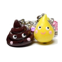 Poop and Pee Best Friend Keychains - 2 BFF set - Kawaii poo and TP - cute keyring charms