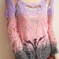 Sexy Hollow Out  Gradient Crochet Blouse for Summer