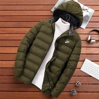 NIKE new winter cotton jacket men's thickening trend hooded cotton clothing green
