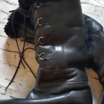 Black Soft Leather Searle shearling Boots shoes size 7.5