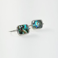 Square Abalone Earrings - Sterling & Abalone Earrings - Vintage Square Earrings - Colorful Square Earrings