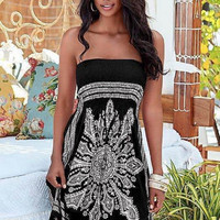 Strapless Print Dress 9969
