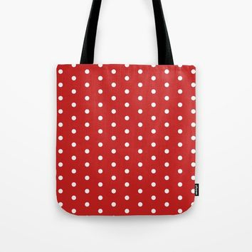 Polka dot pattern, classic red, dotted, retro style design, points, circles, ovals, vintage pin-up Tote Bag by hmdesignspl