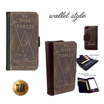 Harry Potter Dark Forces Grunge book cover Smartphone case for iphone 4 4s 5 5s 5c 6 plus Galaxy S3 S4 S5 (plastic snap on, leather wallet)