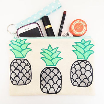 Cute pineapple zipper pouch, makeup pouch, clutch - cotton ticking, polkadot, handpainted, detachable wrist strap