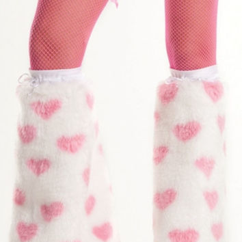 White Fuzzy Boot Cover With Pink Hearts