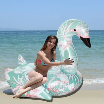 60 Inch 1.5M Giant Inflatable Swan Pool Float Ride-On Floral Print Flamingo Swimming Ring Holiday Party Water Toys Boias Piscina