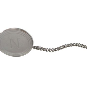 Silver Toned Etched Oval Letter N Monogram Tie Tack