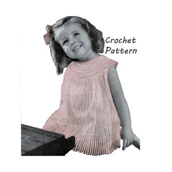Easy Yoked Toddler Girl's Dress Sizes 2 and 4 Crochet Pattern || Vintage 1940's || Reproduction PDF Instant Download Daddys Pal 5199