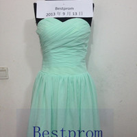 Cheapest Sweetheart knee-length zipper back mint green/chiffon/short prom/Evening/Party/Homeco­ming/cocktail /Bridesmaid/Formal Dress BP-01