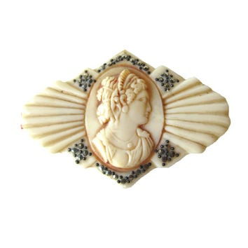 RARE Marcasite and Celluloid Art Deco French Cameo Pin / Vintage Fashion / Vintage Jewelry / Womans Gift Jewelry