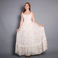 70s GUNNE SAX Sun DRESS / Antique Rose Print Corset Maxi, xs-s