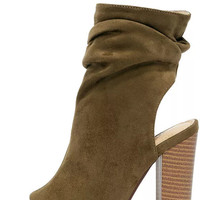 Only the Latest Olive Suede Peep-Toe Booties