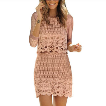Lace Hollow two-piece Dress