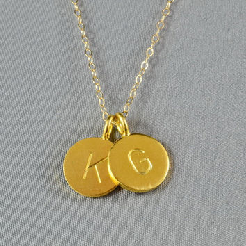 CUSTOM - Double Hand Stamped Disc Necklace, Initial Letters on Gold Vermeil Discs, 14K Gold Filled Chain, FREE Birthstone