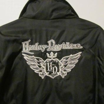 Womens Harley Davidson Jacket sz L High Neck Harley Davidson Womens size L Jacket Biker Jacket Womens Harley Clothing Vintage Harley Apparel